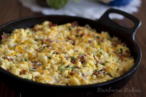 Breakfast Hashbrown Casserole in a skillet