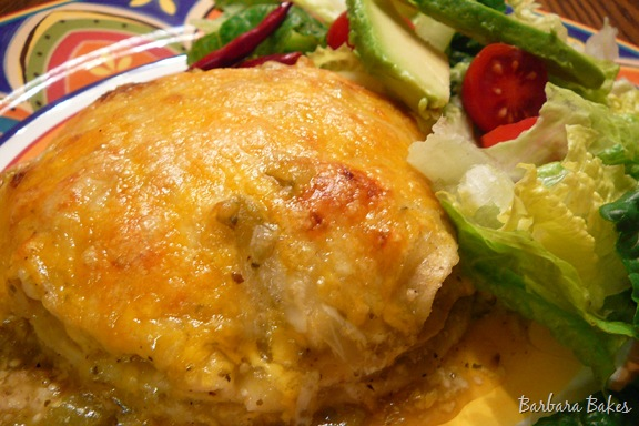 Stacked Green Chile And Chicken Enchilada Recipe Barbara Bakes