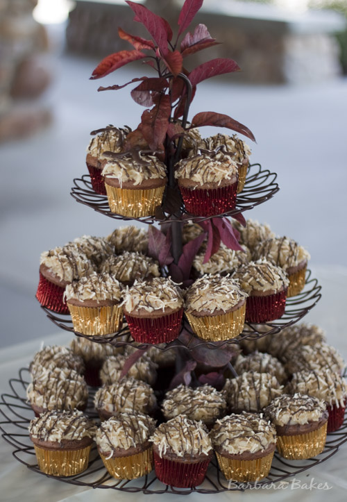 German Chocolate Cupcakes with Coconut Almond Frosting | Barbara Bakes