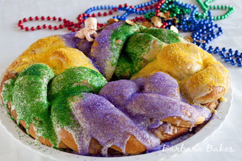 Mardi Gras King Cake Recipe on Barbara Bakes