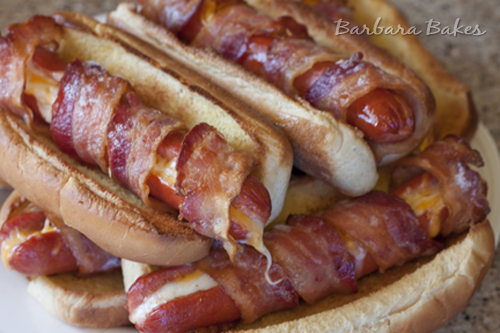 Bacon Wrapped Cheese Hot Dog Recipe @BarbaraBakes
