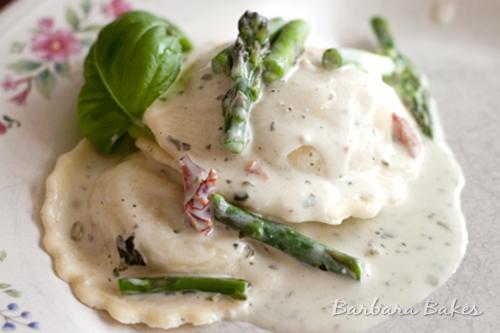 Light Creamy Pesto Ravioli Recipe