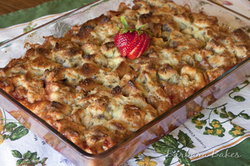 Strawberry Rhubarb Baked French Toast Recipe | Barbara Bakes