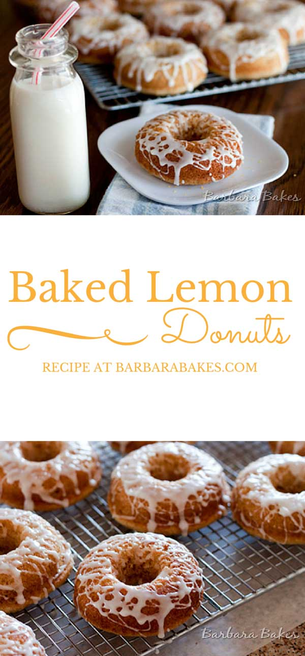 A light, fluffy baked lemon donut drizzled with a tart lemon glaze.