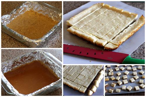 Making Chocolate Caramel Cheesecake Bites