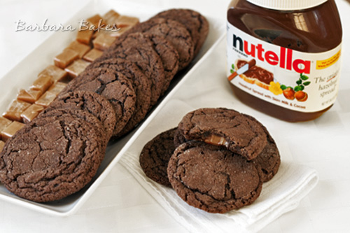 Chocolate Nutella Caramel Filled Cookies