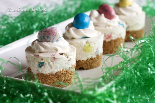 mini no bake cheesecakes topped with Robin's Eggs malted milk balls for Easter
