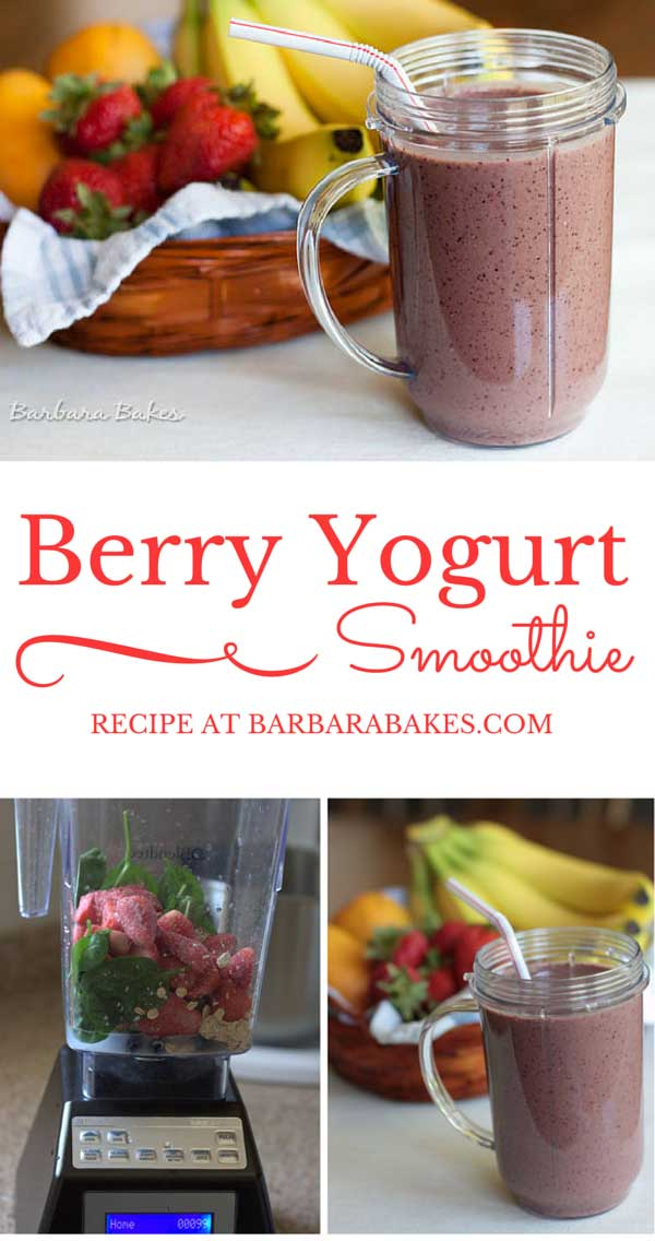 A healthy and delicious way to start your day. Berry Yogurt Smoothie recipe from Barbara Bakes.
