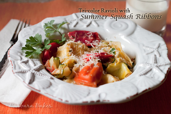 Cheese Ravioli with Summer Squash Ribbons