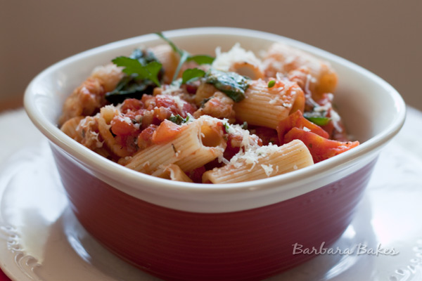 Rigatoni with Spicy Sausage Tomato Sauce, Spinach, and Parmesan Recipe