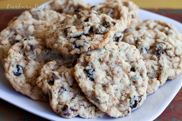 Cherry Chocolate Chip Oatmeal Toffee Cookie Recipe | Barbara Bakes
