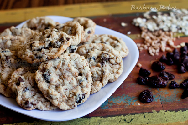 Cherry Chocolate Chip Oatmeal Toffee Cookies | Barbara Bakes