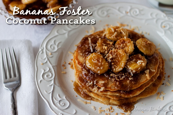 Bananas Foster Coconut Pancakes
