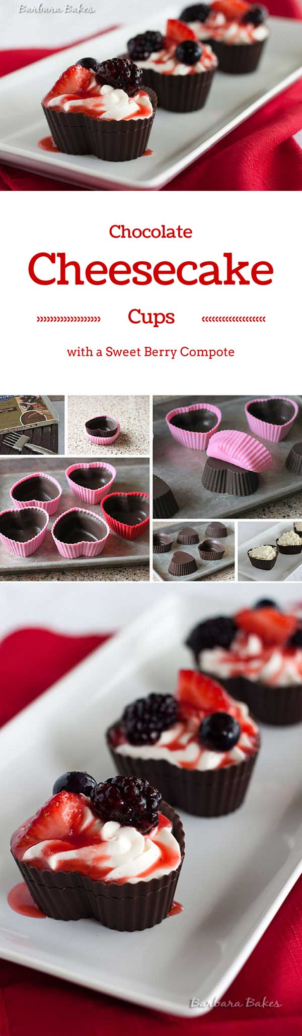 Chocolate Cheesecake Mousse Cups with Berry Compote | Barbara Bakes