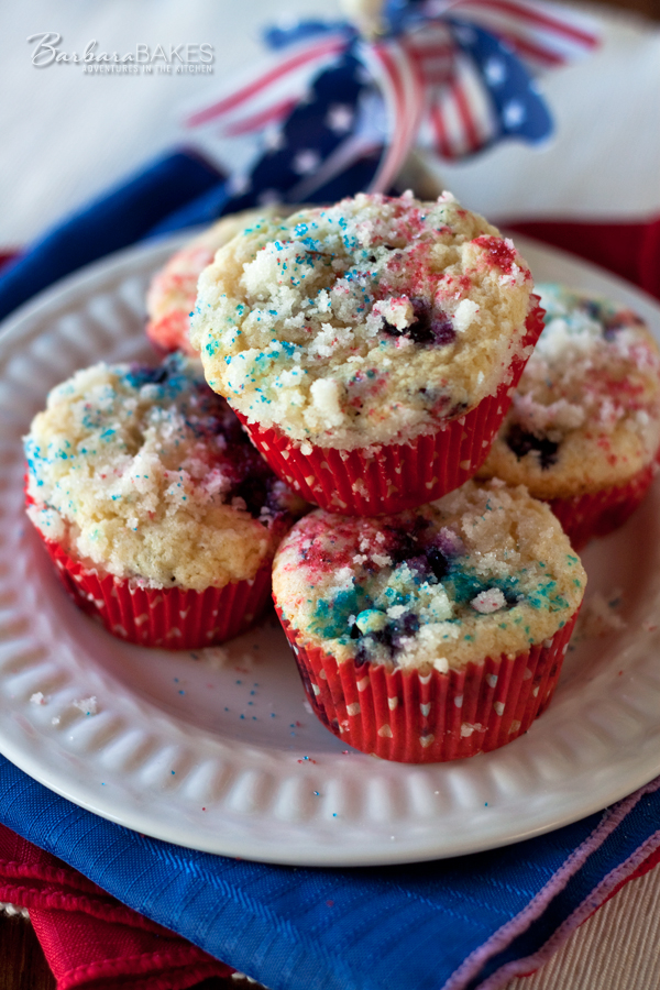 Kick off your Independence Day celebration this year with red, white and blue muffins. | Barbara Bakes