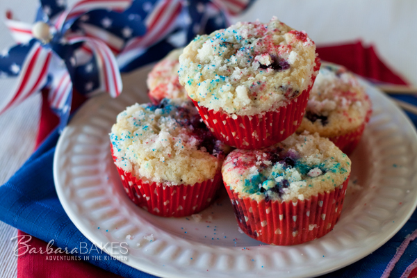 Kick off yourIndependenceDay celebration this year with red, white and blue muffins. | Barbara Bakes