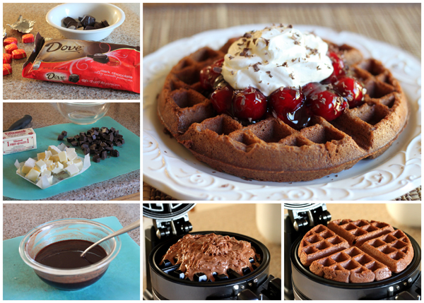 The flavors of a black forest cake in a fun to eat waffle. BarbaraBakes.com