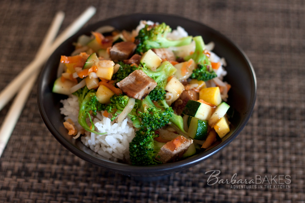Pork teriyaki rice bowl recipe barbara bakes barbecued pork tenderloin with stir fried veggies drizzled with a spicy terikayi sauce served over mildly forumfinder Choice Image