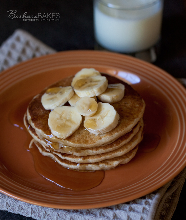 Whole Wheat Banana Pancakes | BarbaraBakes.com