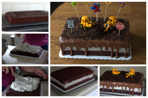 A Construction Birthday Cake - Chocolate Oreo Cheesecake recipe from Barbara Bakes