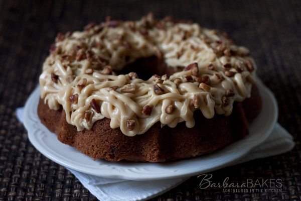 Oatmeal Raisin Pecan Bundt Cake with Caramel Icing