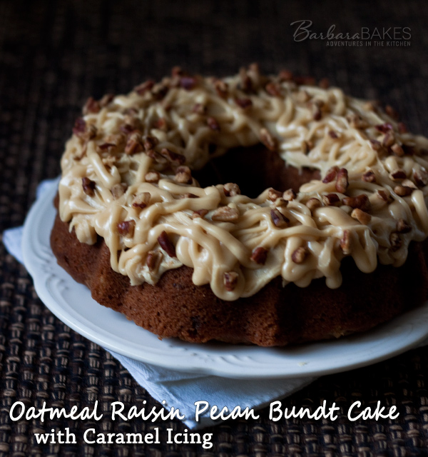 Oatmeal-Raisin-Pecan-Bundt-Cake-Barbara-Bakes & Oatmeal Raisin Pecan Bundt Cake with Caramel Icing Recipe | Barbara ...