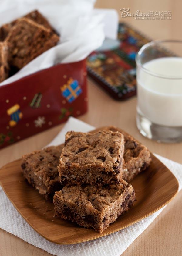 Granola Chocolate Chip Toffee Bar Cookie Recipe on BarbaraBakes.com
