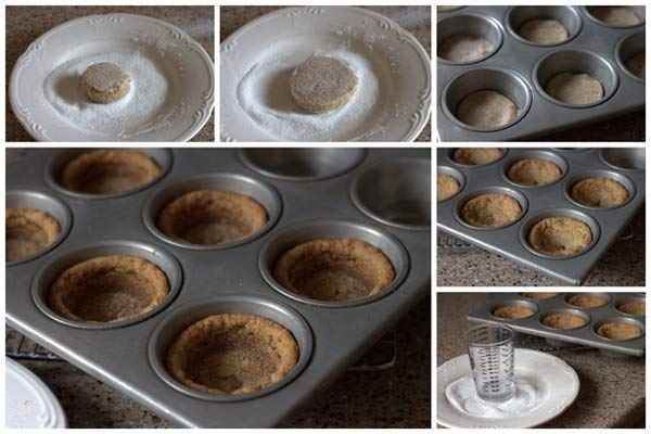 cookies in muffin cups, then create a well in the middle of the cookie ...