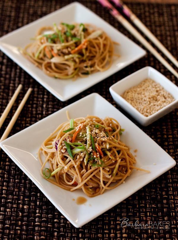 Whole Wheat Noodle Salad with a Spicy Peanut Sauce | Barbara Bakes
