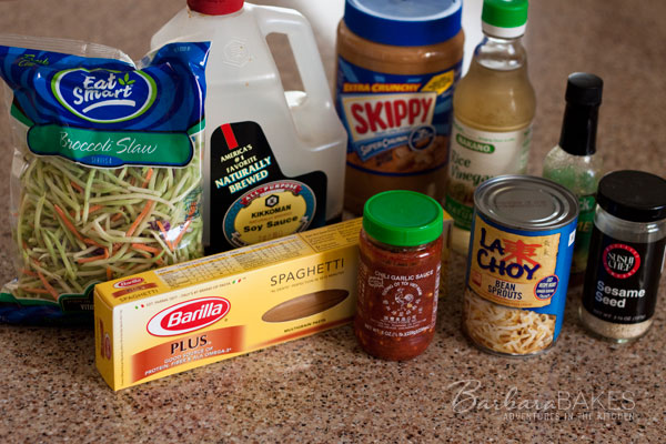Whole Wheat Noodle Salad with a Spicy Peanut Sauce Ingredients