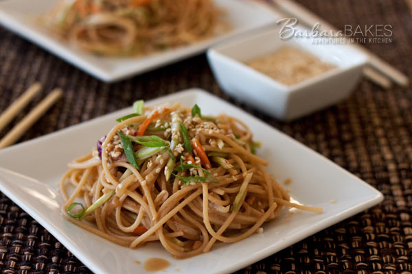 Whole Wheat Noodle Salad with a Spicy Peanut Sauce | BarbaraBakes.com