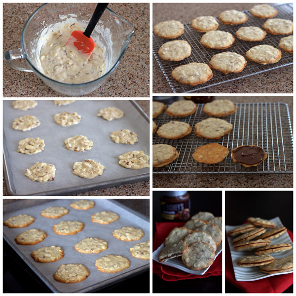 Almond Cookie Crisps with a Chocolate Almond Filling Collage