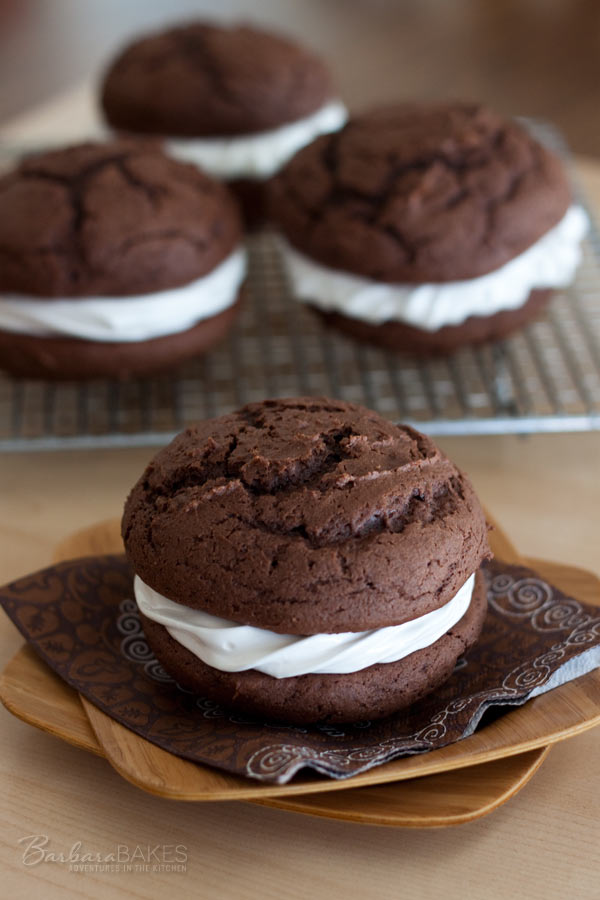 Chocolate Egg Nog Whoopie Pies Recipe @BarbaraBakes.com