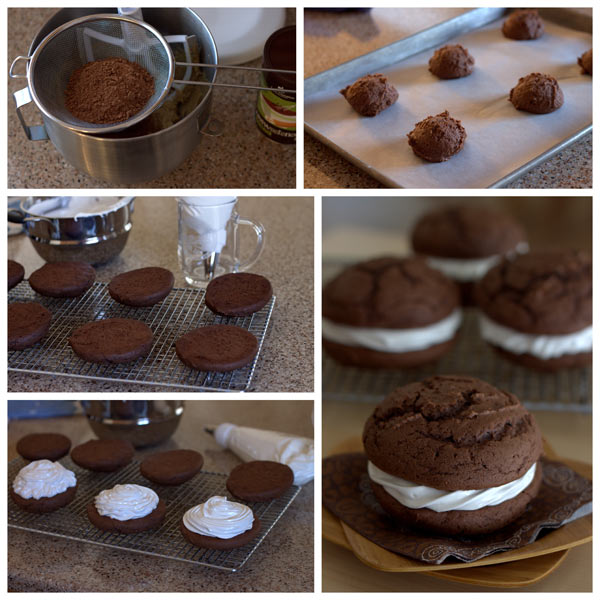 Yes, it's true Virginia, there really is an easy chocolate whoopie pie recipe made with a cake mix! These simple and festive Christmas whoopie pies are also called chocolate sandwich cookies. They include a light and fluffy peppermint filling, covered with crushed candy canes, sandwiched between two cookies.