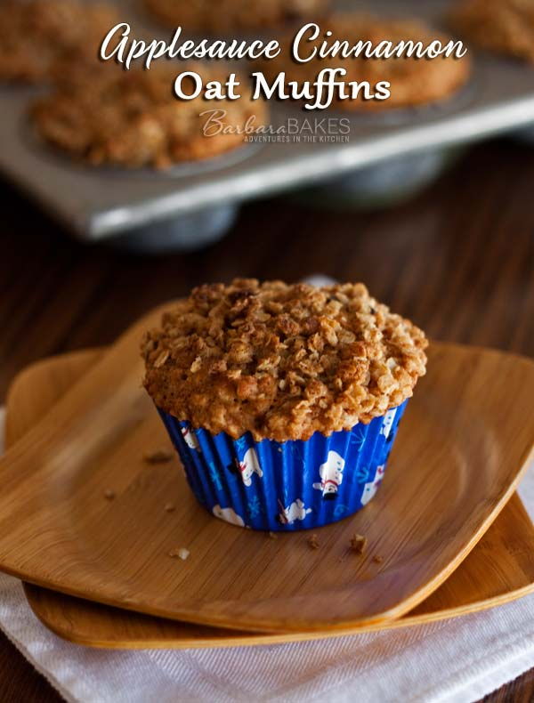 better-for-you muffin made with oats and applesauce then crowned ...
