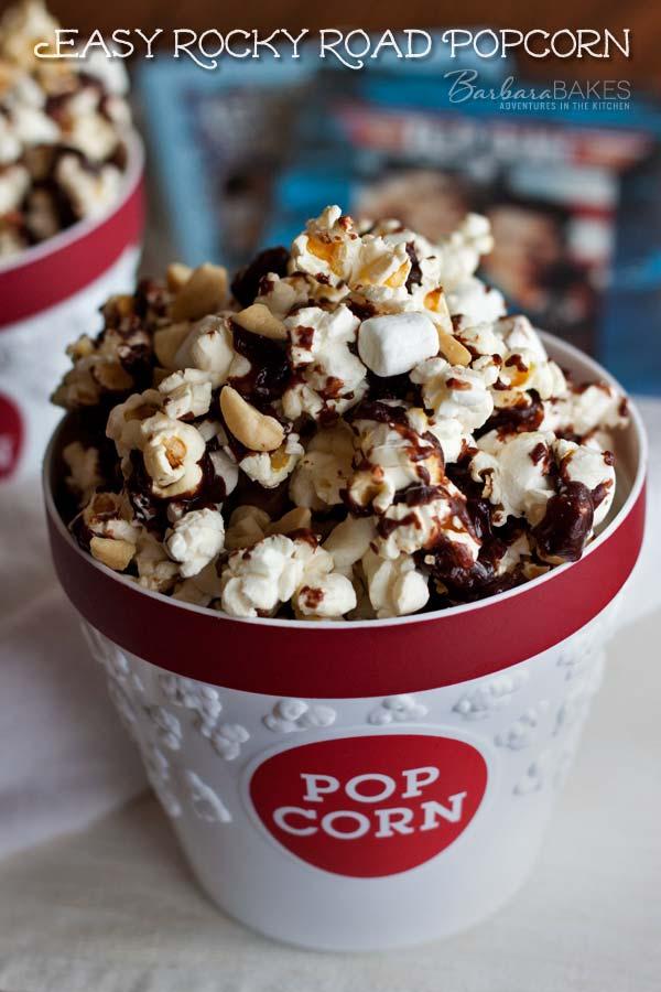Easy Rocky Road Popcorn Recipe @BarbaraBakes.com #snacks