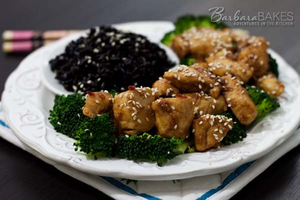 A better-for-you sweet and spicy orange chicken that's quick and easy to make at home. @Barbara Bakes #dinner