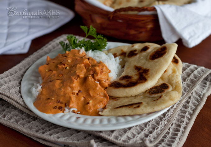 Easy to make naan indian flatbread recipe barbara bakes naan indian flatbread with chicken masala forumfinder