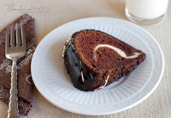 Chocolate Bundt With Cheesecake Swirl Slice Barbara Bakes