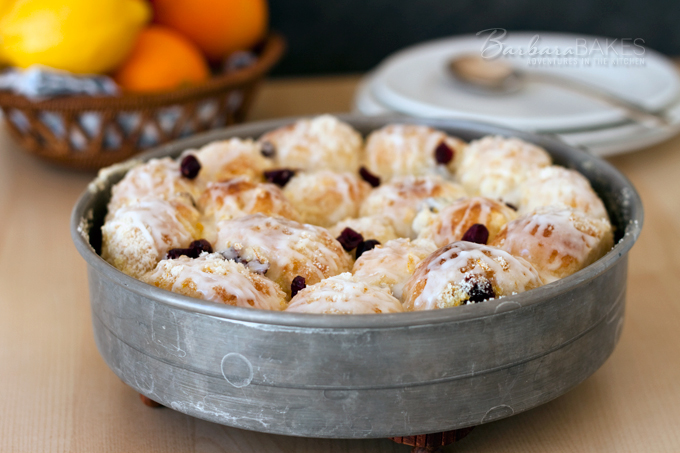 Citrus Cream Cheese Pull Apart Rolls from Barbara Bakes