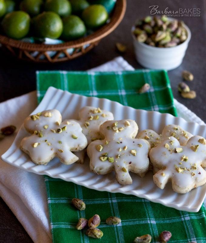 Pistachio Key Lime Shortbread Cookies