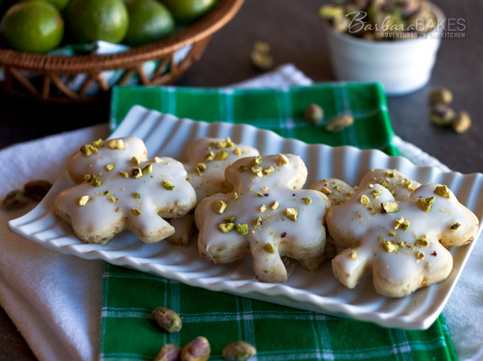 Pistachio Key Lime Shortbread Cookies from Barbara Bakes
