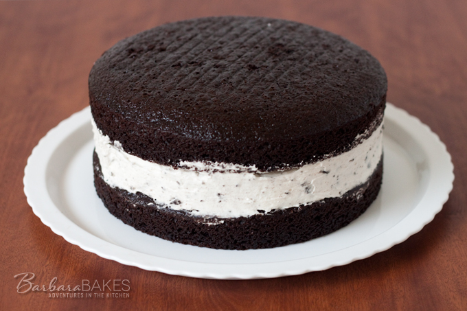 Chocolate Cake with an Oreo Cheesecake Filling Recipe from Barbara Bakes