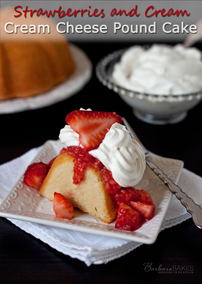 Luscious, rich, moist cream cheese pound looks as good as it tastes when baked in a pretty bundt cake pan. Pair it with strawberries and cream and you have an irresistible craveable dessert.