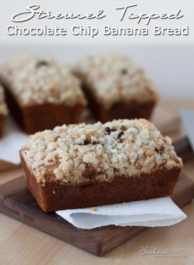Sweet, moist, tender banana bread studded with creamy, semi-sweet chocolate chips and crowned with a sweet crunchy streusel topping.