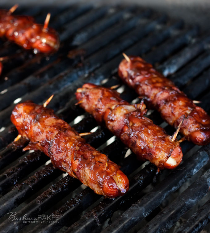 Bacon Wrapped Cheese Hot Dogs recipe from Barbara Bakes