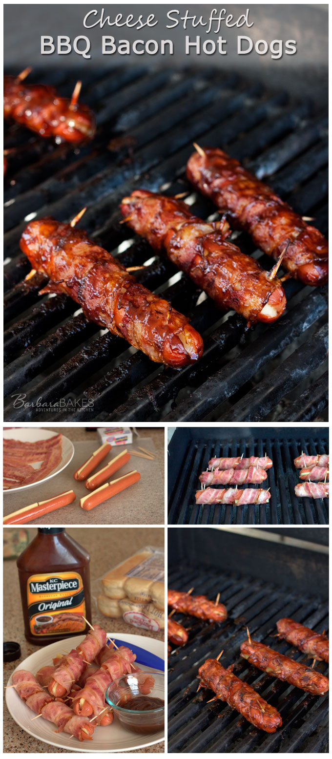 Bun length beef hot dogs stuffed with creamy gouda cheese wrapped in bacon and slathered in tangy BBQ sauce, then grilled until the hot dog is sweating, the cheese is melty, the bacon is crisp and the BBQ sauce is sticky and caramelized.