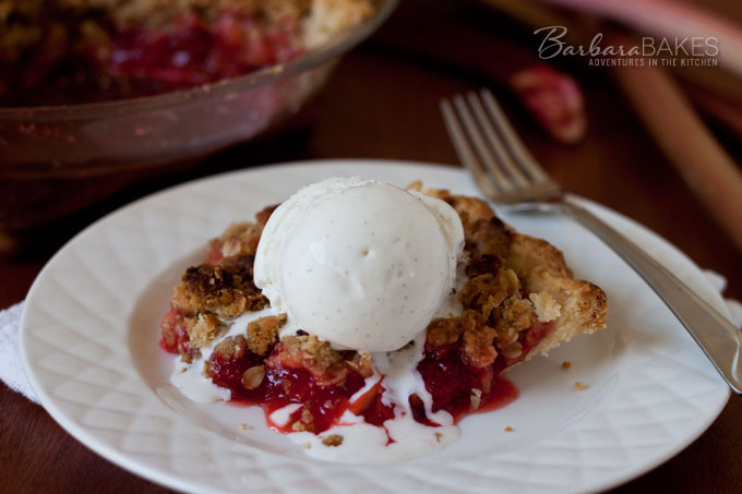Strawberry Rhubarb Pie with a Streusel Top - Recipe at BarbaraBakes.com