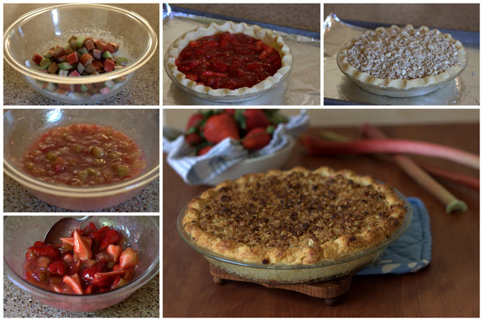 Baking Streusel Strawberry Rhubarb Pie