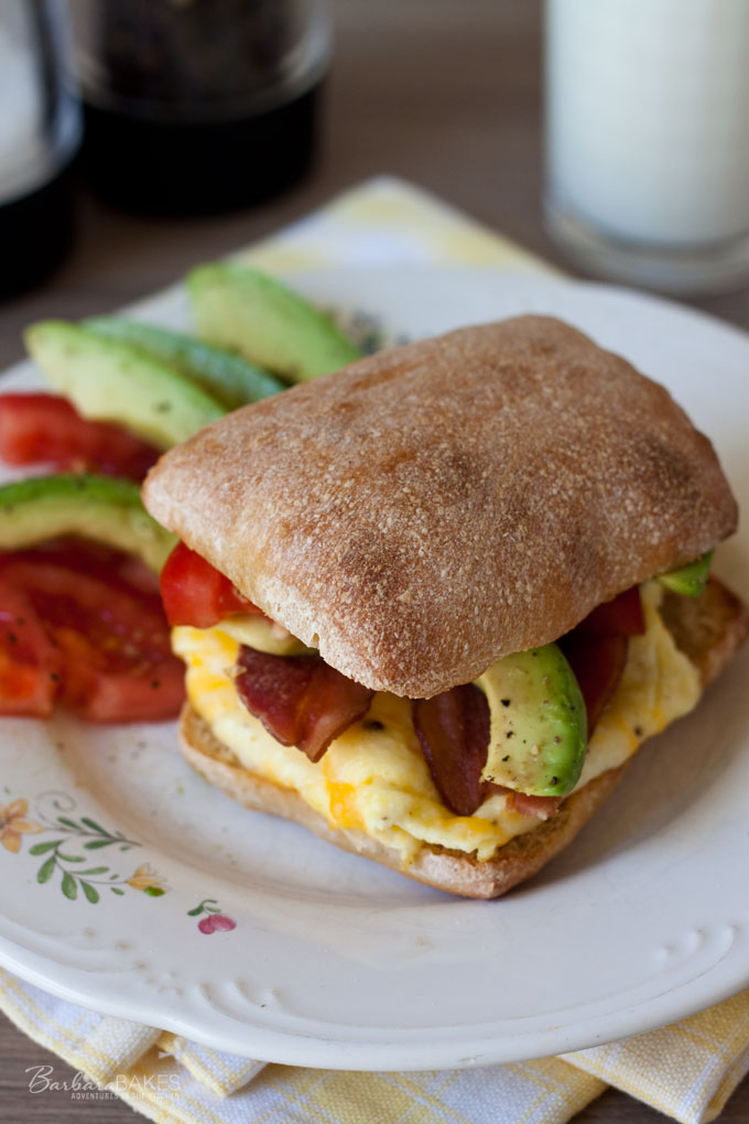 BLT - Bacon Avocado Tomato Breakfast Sandwich recipe from Barbara Bakes